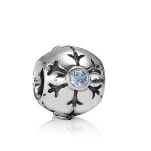 Authentic Pandora Snowflake Charm with Aqua Cz